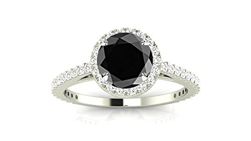 14K White Gold Classic Halo Style Pave Set Round Shape Diamond Engagement Ring with a 1.5 Carat Black Diamond Heirloom Quality Center