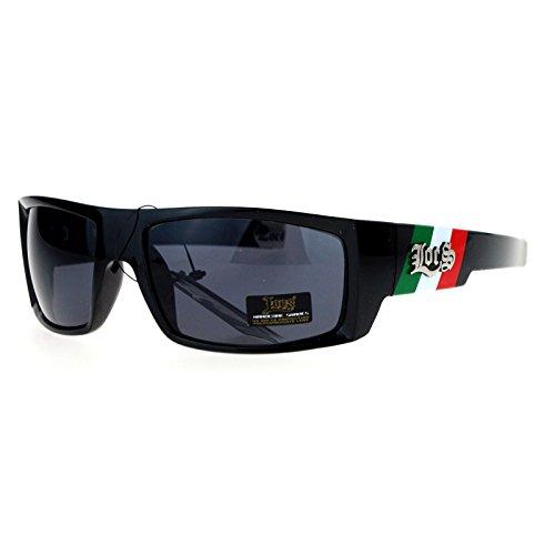 Mens Locs Sunglasses Black Rectangular Hardcore Shades Bandera de - Mexico Sunglasses