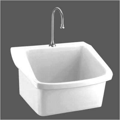 American Standard 9047.093.020 Surgeon's Scrub Sink with Center Hole, Low Front Rim and Wall Hanger, White