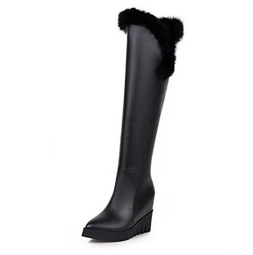 AllhqFashion Damen Hoher Absatz Gemischte Farbe Überknie Hohe Stiefel Stiefel, Schwarz-PU Leder, 35