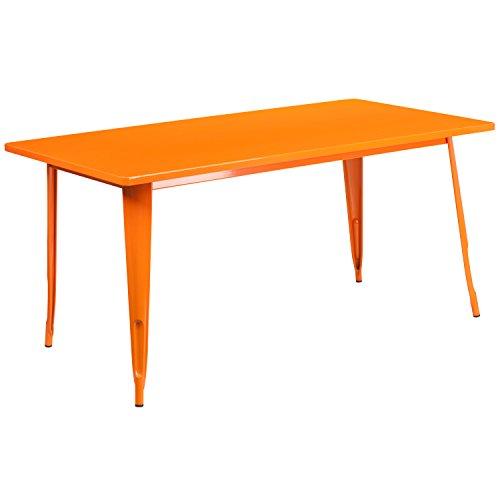 Flash Furniture 31.5'' x 63'' Rectangular Orange Metal Indoor-Outdoor Table (Orange Kitchen Table)