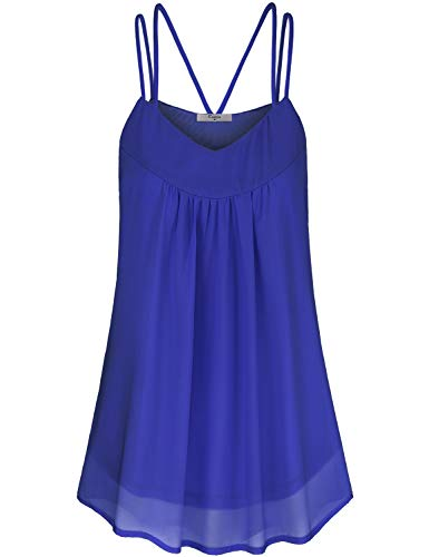 Cestyle Flowy Tank Tops for Women, Juniors Summer Loose Fit Double Spaghetti Strap Camisole Tunic Shirts Crew Neck Sleeveless Boutique Clothes Royal Blue XXL