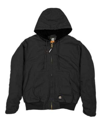 Berne Men's Flex 180 Washed Hooded Work Jacket Black Medium ()