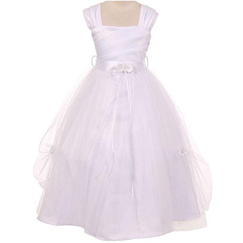 Big Girls Fabulous White Satin Spinning Gathered Top Organza Skirt Communion Flower Girl Dress - Size 14
