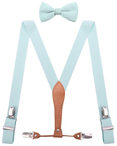 WDSKY Boys Suspenders and Bow Tie Set 4 Clips Elastic 30 Inches Light Blue