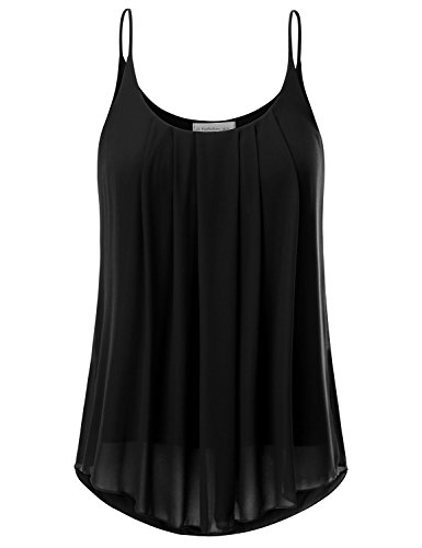 JJ Perfection Women's Pleated Chiffon Layered Cami Tank Top Black XL