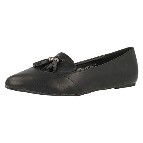 Loafer on Tassle Flats Slip Ladies Black with On Spot Pu xE6nqw0UI