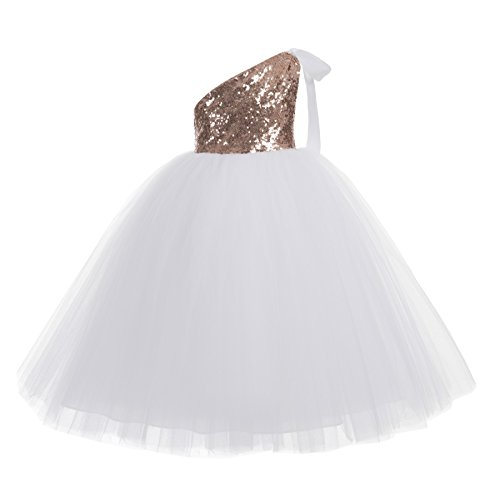 ekidsbridal One-Shoulder Sequin Tutu Flower Girl Dress Wedding Pageant Dresses Ball Gown Tutu Dresses 182 8 Rose Gold/White