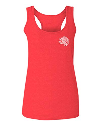 VICES AND VIRTUESS Hecho En Mexico Mexican Flag Coat of Arms Escudo Mexicano Women's Tank Top Sleeveless Racerback (Heather Red, X-Large)