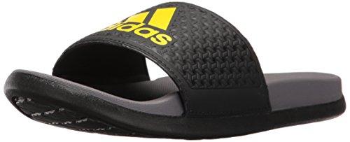 adidas Performance Boys' Adilette Clf+ K Sandal, Black/Grey/Lemon Peel, 6 M US Big Kid