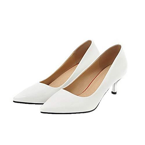 Bianco AllhqFashion Medio FBUIDD005874 Luccichio Puro Ballet Flats Tacco Tirare Donna nngUvpz
