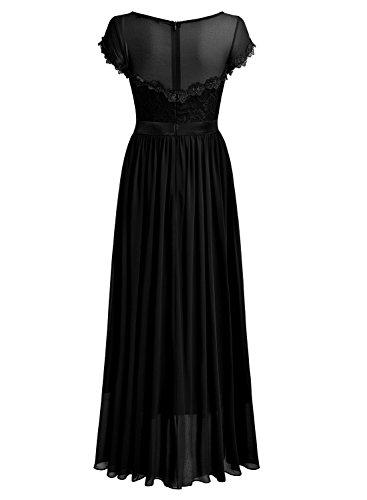 Femme de Soire Noir lgant Miusol Maxi Mousseline Robe Dentelle waWP0BOq