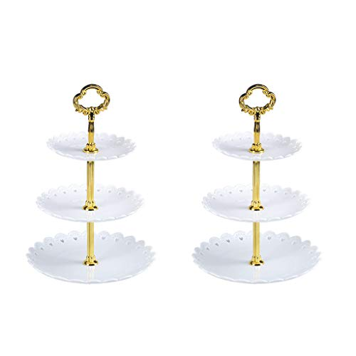 Eoeth 3-Tier Cupcake Stand Fruit Plate Cakes Desserts Fruits Snack Candy Buffet Display Tower Plastic for Wedding Home Birthday Tea Party Serving Platter Small