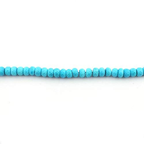 GemAbyss Beads Gemstone 1 Strand Natural Turquoise Stablized Faceted Roundelles. - Turquoise Stablized Rondelles Beads 8mm 8 Inches - Roundelle Turquoise