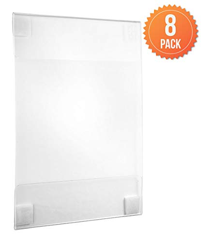 Acrylic Wall Sign Holders (8 Pack), 8.5 x 11 Inches.