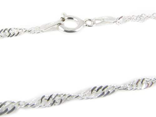 [925 Sterling Silver 1.3 mm Singapore Chain Size: 14 16 18 20 22 24 28 inch (20