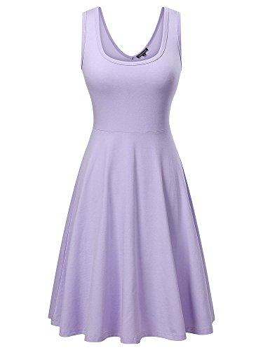 FENSACE Womens Sleeveless Scoop Neck Summer Beach Midi A Line Tank Dress, Purple, ()