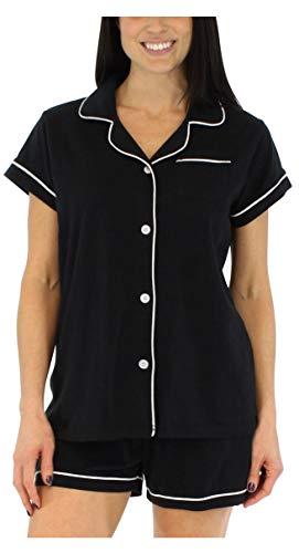 - Sleepyheads Women's Sleepwear Stretchy Jersey Long Sleeve Button Up Top and Pants Pajama Set,Black,X-Small
