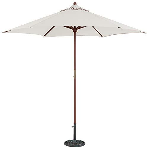 TropiShade 9 ft Wood Market Umbrella with Antique White Polyester Cover ()