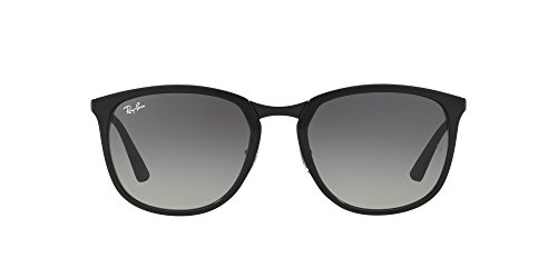 Ray-Ban Plastic Unisex Square Sunglasses, Black, 56 mm
