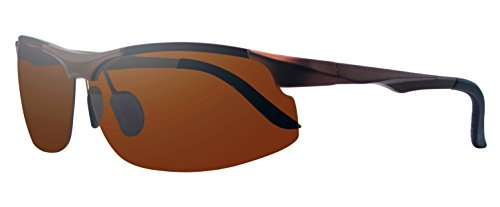 Polarized UV400 Protection Sunglasses Ultra Lightweight Aluminum-alloy for Driving Fishing Golf Metal Frame (Brown, - Repair San Jose Glasses