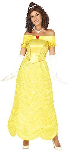 Ladies Long Golden Princess Fairy Tale TV Book Film Movie Hen Do Night Halloween Fancy Dress Costume Outfit (UK -