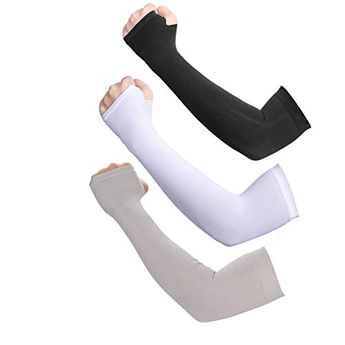Deargles UV Protection Cooling Arm Sleeves for Men Sunblock Protective Gloves Women Cycling Sun Sleeves 3 Pairs 3 Colors