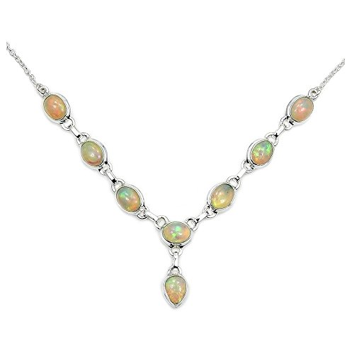 Fascinating Rare Sterling Silver Fire Ethiopian Opal Y-shaped Necklace by The Silver Plaza