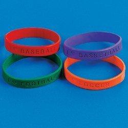 Rubber Sports Sayings Bracelet (2 dozen) - Bulk [Toy]