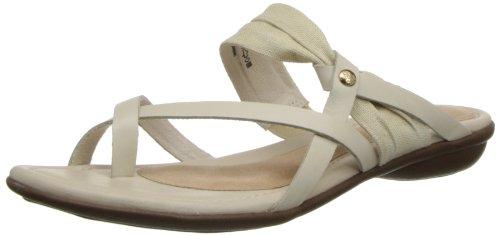 Hush Puppies Women's Nishi Toe Post Dress Sandal,Off White Leather/Textile,6.5 M US