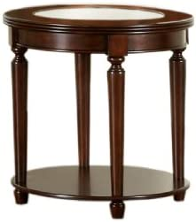Furniture of America Claire Round Glass Top End Table