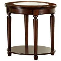 Furniture of America Claire Round Glass Top End Table, Dark Cherry Finish