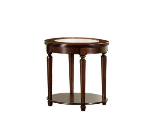 Round Traditional Table - Furniture of America Claire Round Glass Top End Table, Dark Cherry Finish