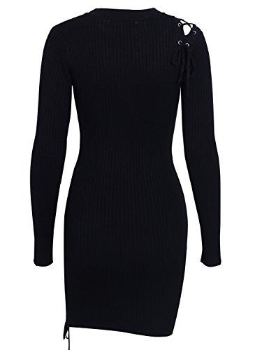 Lacets Mini Robe Club Soirée Robe Moulante Noire De Femmes Simplee Vêtements