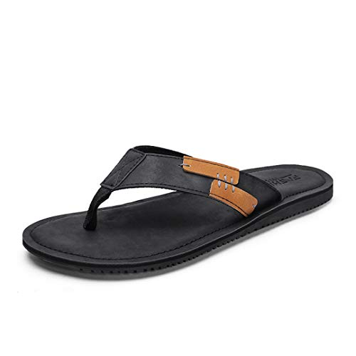 Hilly Men's New Flip Flops Summer PU Men Slippers Comfortable Brown Beach Slides Slip-on Men Casual Shoes 2003m ()