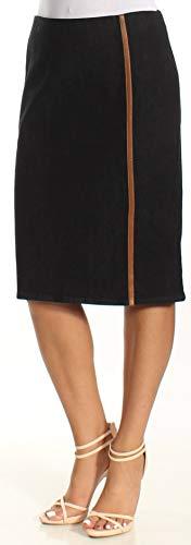 Lauren Ralph Lauren Womens Denim Front Slit Pencil Skirt Navy 14 -
