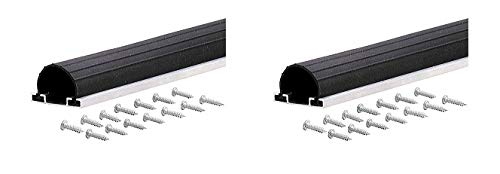M-D Building Products 87668 18-Feet Universal Aluminum and Rubber Garage Door Bottom, Black (2-(Pack))