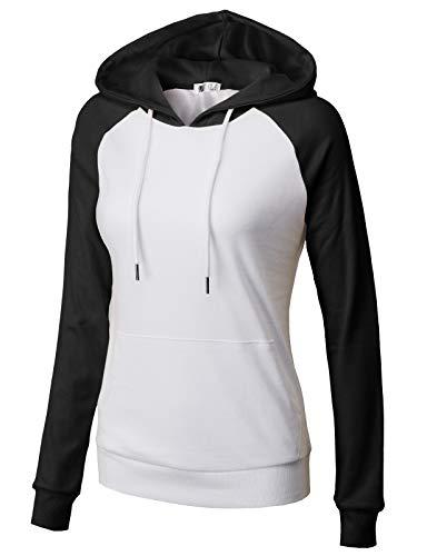 H2H Womens Outwear Long Raglan Sleeve Hoodies Pullover Sweatshirts Hooded WHITEBLACK US L/Asia L (CWOHOL033)
