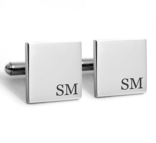 Personalized Silver Cufflinks (LAOFU 925 Sterling Silver Personalised Square Cufflinks with Engraved Any initials)