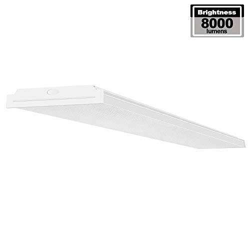 AntLux 72W LED Wraparound Light 4FT LED Office Lights Ceiling, 8600 Lumens, 4000K Neutral White, 4 Foot Flush Mount Wrap Lighting Fixture for Garage Workshop, Fluorescent Light Replacement