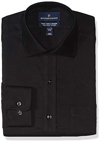 (BUTTONED DOWN Men's Classic Fit Stretch Twill Non-Iron Dress Shirt, Black, 17.5