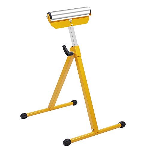 ROVSUN Folding Roller Stand, Material Support Pedestal Height Adjustable Portable, 132lbs Weight Capacity, with Steel Ball Bearing Roller, Work with Table Miter Saws for Log Timber ()