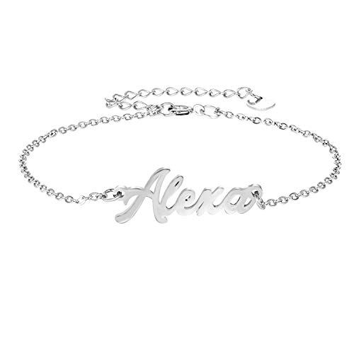 (LAOFU Personalized Name Bracelet Silver Link Bracelet, Custom Made Jewelry in Any Name, Gift for Women (A-Customized-Silver))