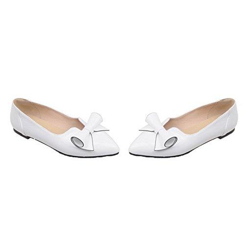 Talon Bas Légeres d'orteil Fermeture Blanc Femme Tire AgooLar à Chaussures Verni qxRtBI