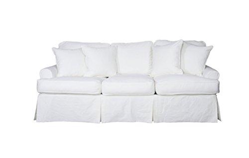 Sunset Trading SU-117600-423080 Horizon Slipcovered Warm White Sofa, Small,