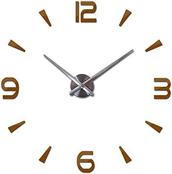 BJGCWY Espejo de acrílico Reloj de Pared Reloj de Cuarzo Grande Bodegón Relojes Modernos Sala de Estar Decoración del hogar Pegatinas 3D 37 Pulgadas Chocolate