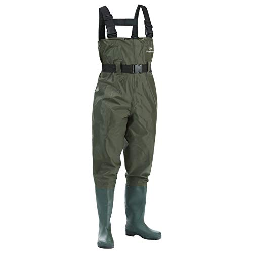 FISHINGSIR Chest Fishing Waders Hunting Bootfoot with Wading Belt Waterproof Insulated Breathable Nylon and PVC Cleated Wading Boots for Men Women Size ()