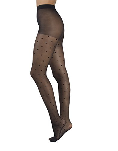 SHEER PANTYHOSE WITH DOTS | SHEER SPOTTY TIGHTS | 20 DEN | BLACK | ITALIAN HOSIERY | (L/XL)