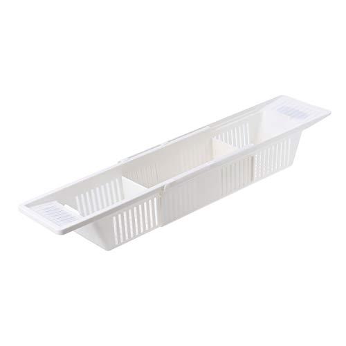 Retractable Bath Caddy Tray Plastic Bathtub Basket Shelf Rack Bath Toys Organizer