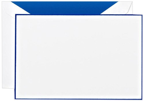 Crane & Co. Regent Blue Bordered White Correspondence Card (CC3305)